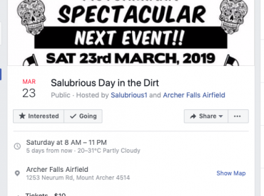 Salubrious Day in the Dirt Event - 23rd March 2019
